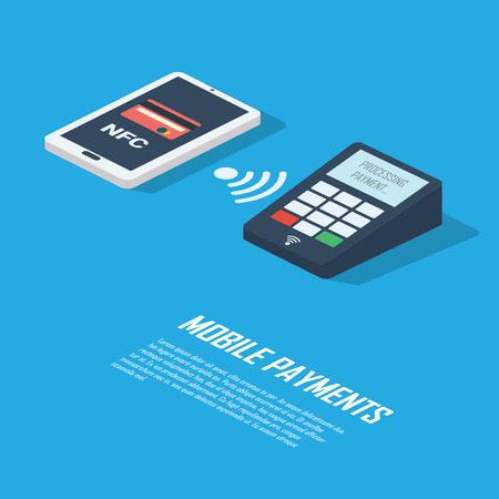 transakcji: Mobile payments concept infographics presentation. Smartphone with nfc technology making wireless contactless transactions.  vector illustration.