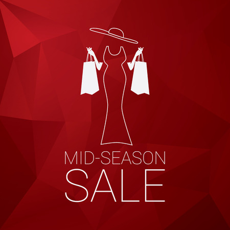 season: Mid season sale poster design with elegant lady and shopping bags. Low polygonal red background. vector illustration.