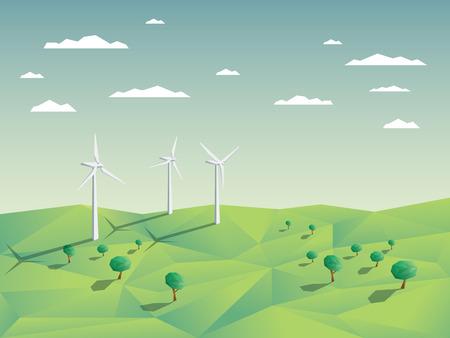 granja: Parque eólico en campos verdes entre los árboles. Fondo de la ecología ambiental para presentaciones, páginas web, infografía. Diseño poligonal Moderno 3D bajo. ilustración vectorial.