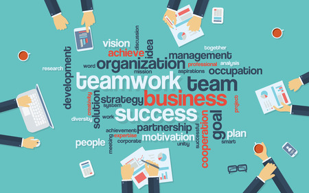 business group: Teamwork business infographics poster with businessmen working around the word cloud. Analysis and planning keywords. Office objects. vector illustration.