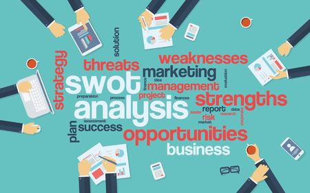foda: FODA infografía análisis cartel con los hombres de negocios que trabajan alrededor de la nube de la palabra. Análisis y planificación de palabras clave. Objetos de oficina. Ilustración vectorial Eps10.