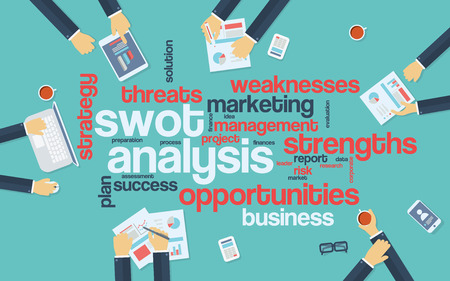 swot: SWOT analysis infographics poster with businessmen working around the word cloud. Analysis and planning keywords. Office objects. Eps10 vector illustration.