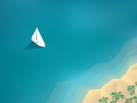 Summer holiday background with yacht sailing to a sandy beach on tropical island. Low polygonal design.  vector illustration.