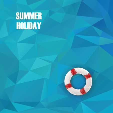 life buoy: Summer holiday low poly poster with sea water in polygonal geometry shapes. Life ring or buoy object on surface.  vector illustration. Illustration