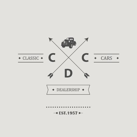 dealership: Vintage classic car hipster badge symbol for dealership or used vehicles shop. Old pickup truck from 50s. Eps10 vector illustration Illustration