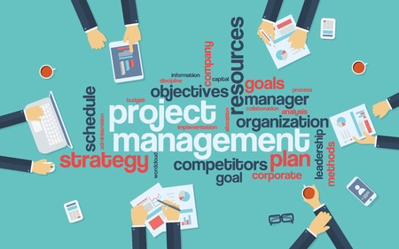 management process: Project management infographics poster with businessmen working around the word cloud. Analysis and planning keywords. Office objects.  vector illustration