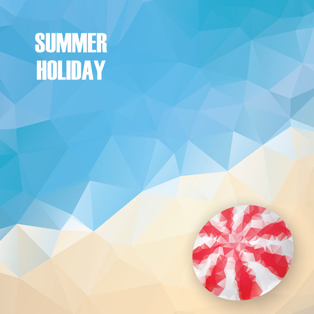 sun beach: Summer holiday low poly poster with sea water in polygonal geometry shapes. Beach sun umbrella object on sand.  vector illustration.