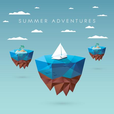 agence de voyage: Summer concept de vacances design. Style bas polygonale avec des îles flottantes, des yachts, des palmiers. Paradis tropical publicité. illustration vectorielle.