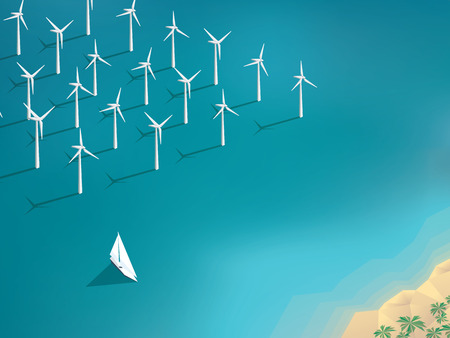 wind power: Offshore wind farm concept. Ecological background suitable for presentations. vector illustration.