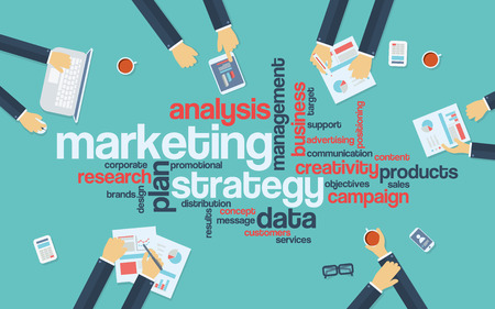 Marketing strategy concept infographics. Word cloud with marketing keywords. Creative team developing branding plan. vector illustration.