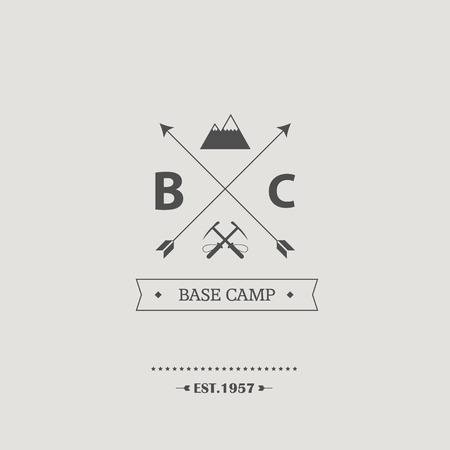 pickaxe: Vintage mountain climbing badge. Minimalist retro graphic design with arrows, pickaxes and mountains.  vector illustration. Illustration
