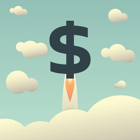 prosperidad: Dólar subiendo como un cohete. Aumento del valor del dólar en el símbolo internacional de los mercados financieros en el estilo vintage. ilustración vectorial Vectores