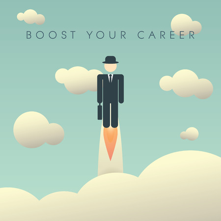 personal growth: Career development poster template with businessman flying high. Climbing corporate ladder human resources background. Eps10 vector illustration.