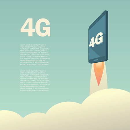 telecommunication: 4G or LTE presentation poster template with smartphone flying. High speed mobile web technology. Eps10 vector illustration.