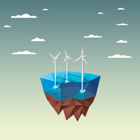 Offshore wind farm concept with in modern low polygonal floating island design. Ecological background suitable for presentations. vector illustration.