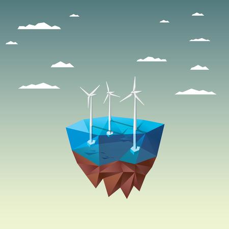 Offshore windpark concept met moderne lage veelhoekige drijvend eiland ontwerp. Ecologische achtergrond geschikt voor presentaties. vector illustratie.