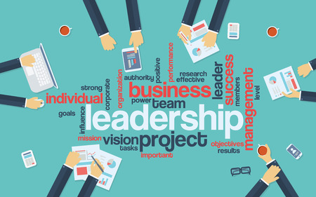 Leadership concept infographics. Word cloud with keywords for business leader. Businessmen on board meeting.  vector illustration. Stock Illustratie