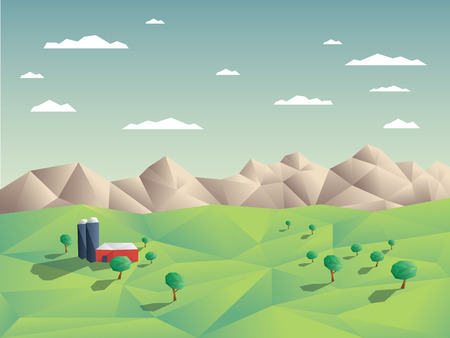 agriculture landscape: Low polygonal farming agriculture landscape concept illustration with mountains in background. 3d low poly shapes with shadows. Eps10 vector illustration. Illustration