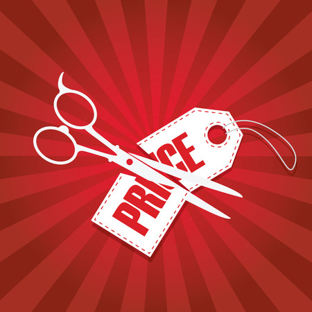 cut: Price cut reduction poster design with scissors and pricetage in half. Red gradient rays background.  vector illustration.