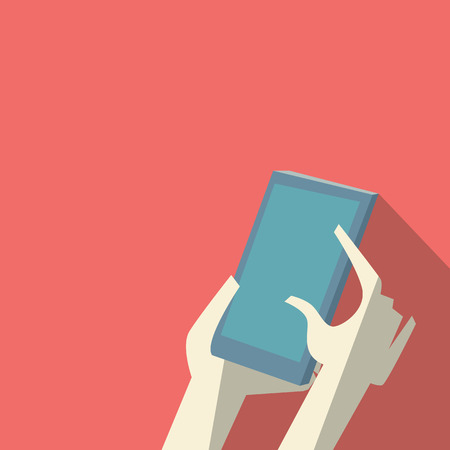 holding smart phone: Hands holding smartphone. Fingers touching screen. Low polygonal design with long shadow. Eps10 vector illustration. Illustration