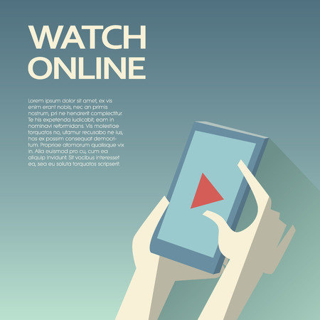 Video streaming on smartphone. Watch online videos poster suitable for infographics, presentation or advertising. Eps10 vector illustration. Vettoriali