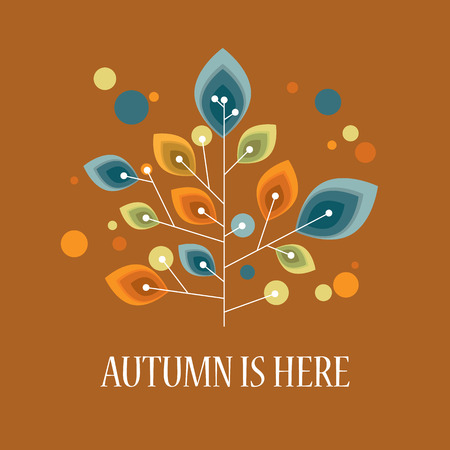 fall leaves: Autumn or fall background with foliage leaves on tree. Vintage retro design. Eps10 vector illustration.
