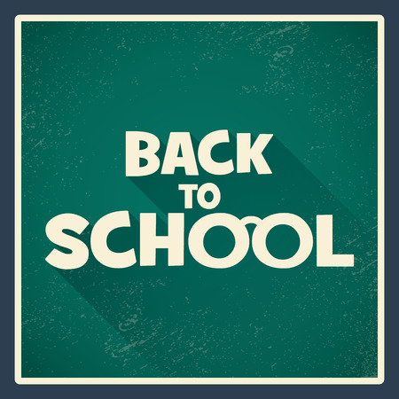 worn: Back to school poster with green chalkboard and long shadow text. Vintage grunge worn background. Eps10 vector illustration.