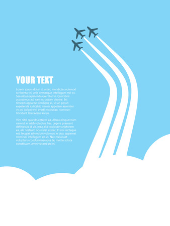 plane vector: Plane squad flying over clouds with jet streams. Vintage design of three aircrafts suitable for advertising, promotion, business brochure. Eps10 vector illustration. Illustration