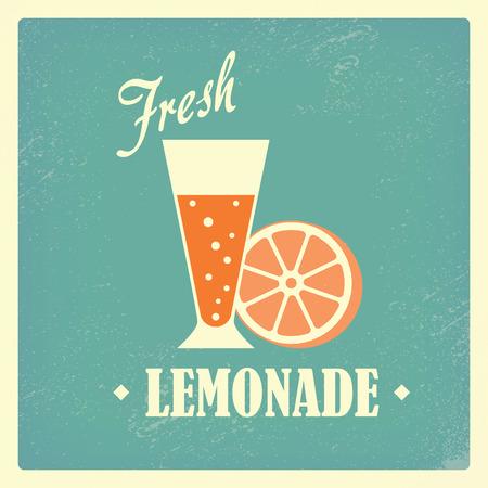 Fresh local homemade lemonade drink vintage design poster. Grunge elements for advertising beverages. Eps10 vector illustration. Vector