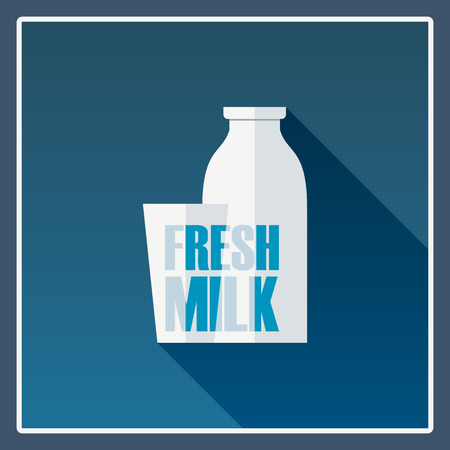 milk products: Fresh milk poster with long shadow design. Local farm dairy products advertising background. Eps10 vector illustration.