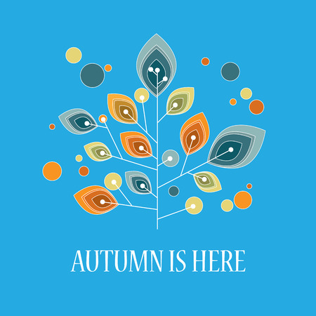 fall leaves: Autumn or fall background with foliage leaves on tree. Vintage retro design. Illustration