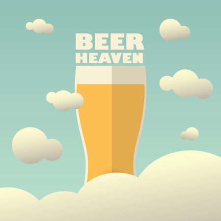 heaven light: Beer heaven poster with large pint on background. Vintage funny concept for advertising or promotion