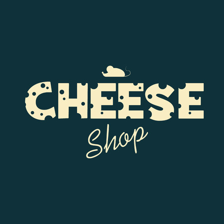 cheese: Cheese shop design with creative typography of emmental cheese. Adorable cute poster template for advertising and promotion.