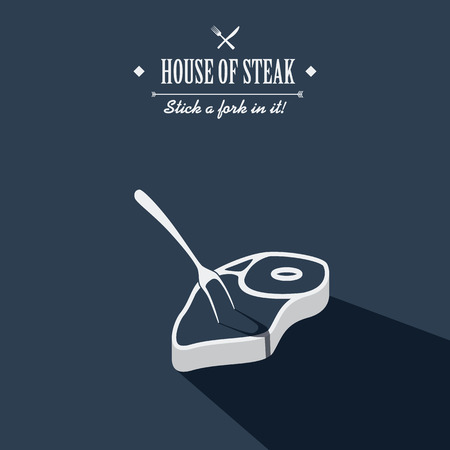 steak dinner: Steak house poster. Restaurant menu cover. Beef meat cartoon with long shadow. Creative typography advertising. Stick a fork in it.