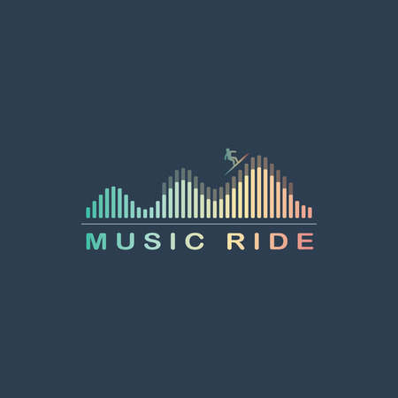 wavelength: Music equalizer symbol. Colorful wave with surfer. Radio advertising concept. Illustration