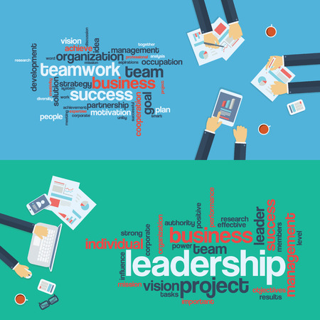 contribution: Teamwork concept. Leadership word cloud.  Business background. Board meeting. Flat design infographics.