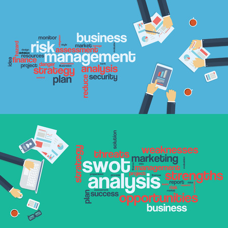 Risk management concept. Swot analysis. Business background. Board meeting. Word cloud infographics. Stock Illustratie