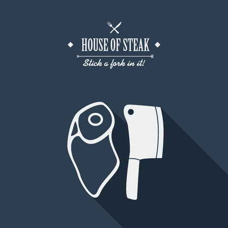 cartoon axe: Steak house poster. Restaurant menu cover. Beef meat cartoon with long shadow. Creative typography advertising.