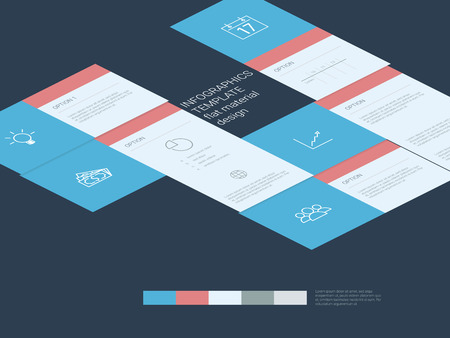 line material: Infographics template. Menu options elements. Material design layout. Line art icons, graphs and charts. Project management concept.  Illustration