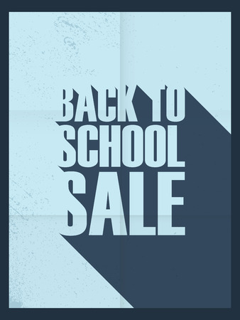promotional: Back to school background. Sale poster. Paper design. Long shadow font. Blue frame.