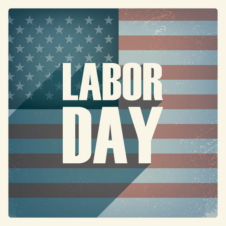 labour: Labor day poster. Vintage grunge design. Patriotic symbol with US flag. American national holiday. Long shadow typography.