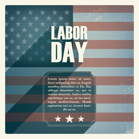 labor: Labor day poster. Vintage grunge design. Patriotic symbol with US flag. American national holiday. Long shadow typography.