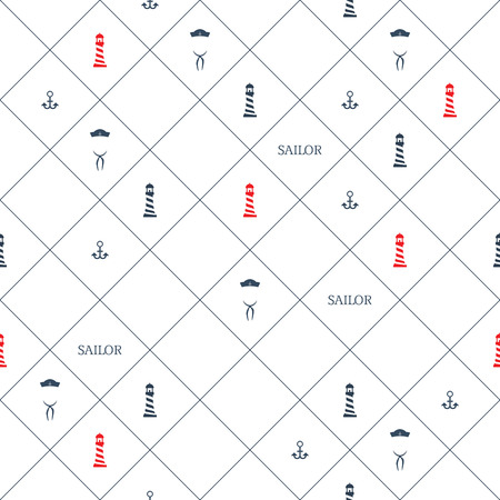 Nautical background. Sailing icons. Seamless pattern. Wallpaper symbols.