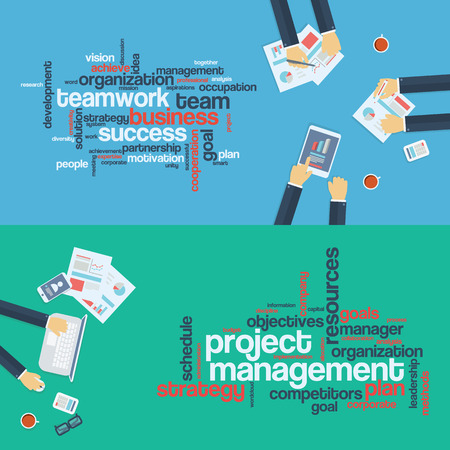 board meeting: Project management concept. Leadership word cloud.  Business background. Board meeting. Flat design infographics.  Illustration