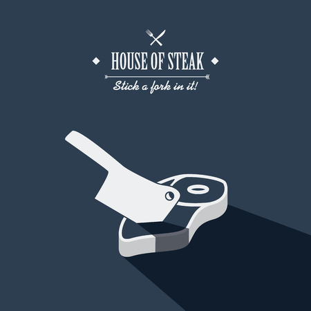 steaks: Steak house poster. Restaurant menu cover. Cartoon with long shadow. Meat cleaver icon. Creative typography advertising.