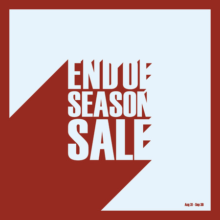 offers: End of season sale and discounts poster background with creative typography. Retro vintage long shadows style negative space font.  Stock Photo