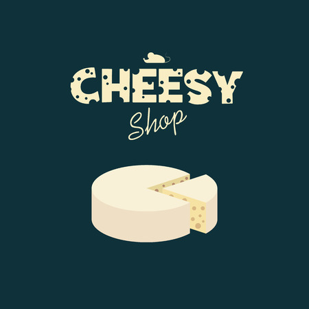 gouda: Cheese shop design with creative typography of emmental cheese. Adorable cute poster template for advertising and promotion.