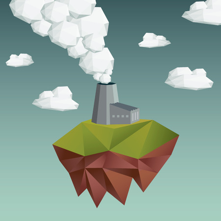 low poly: Air pollution concept with factory building. Ecology and industrial abstract. Low polygonal design.  Illustration