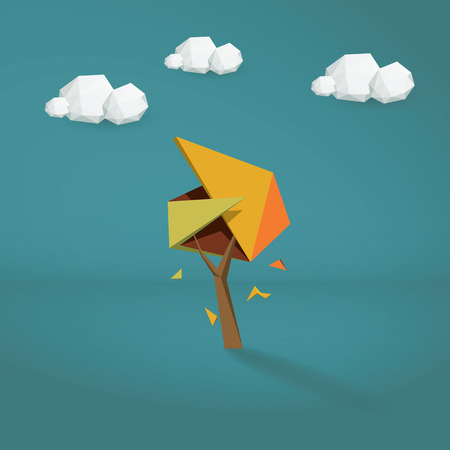 Low poly autumn tree. Abstract polygonal illustration with foliage. Orange, green, red colors. Clean 3d symbol.