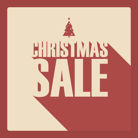 christmas sale: Christmas sale poster. Creative typography with long shadow. Xmas tree symbol. Discounts advertising and promotion.  Illustration